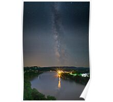 Austin Texas Images - The 360 Bridge Under the Milky Way Poster