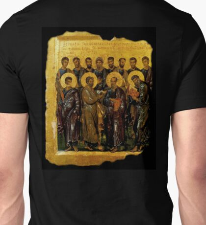 BIBLE, Twelve Disciples, Synaxis, Christianity, Twelve Apostles, Russian, 14th century, Moscow Museum. Unisex T-Shirt