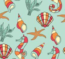 Nautical Seahorse, Seashell and Seaweed Pattern Sticker
