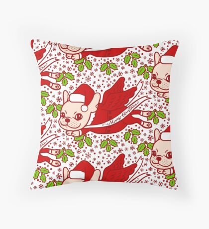 Christmas with a Frenchie Throw Pillow