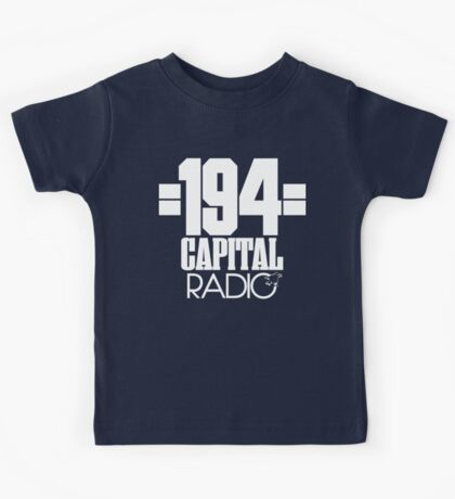 Capital Radio (1) - white print Kids Tee