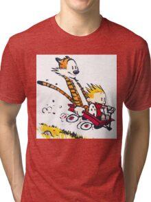 Calvin Hobbes Wagon Tri-blend T-Shirt