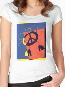 Pop Art Peace Person Women's Fitted Scoop T-Shirt