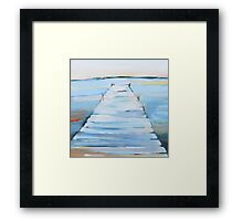 water and dock painting Framed Print
