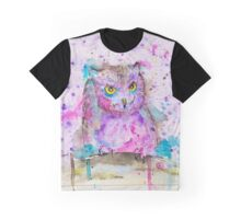 Wise Owl Watercolour Graphic T-Shirt