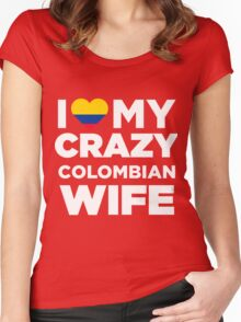 I Love My Crazy Colombian Wife Colombia Native T-Shirt Women's Fitted Scoop T-Shirt