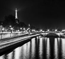 Eiffel Tower overview - panorama (Black & White) by Mathieu Longvert