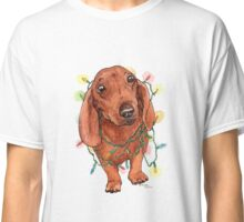 Dachshund with Christmas Lights Classic T-Shirt