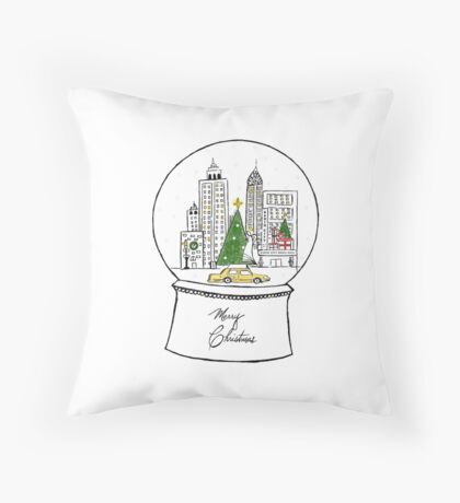 New York in the Snow Throw Pillow