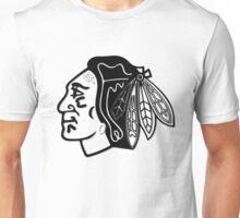Black and White Chicago Blackhawks Indian Head Unisex T-Shirt