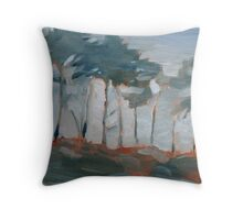 cypress trees and fog Throw Pillow
