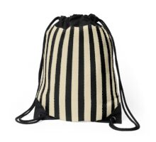 Stripes Black Beige Drawstring Bag
