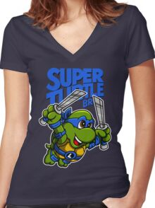 Super Turtle Bros - Leo Women's Fitted V-Neck T-Shirt
