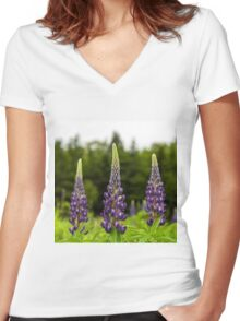 Trio of Lupins Women's Fitted V-Neck T-Shirt