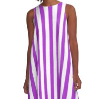 Stripes Purple White A-Line Dress