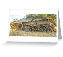 Of days gone by....leaning old shed ..... old wagon... Greeting Card