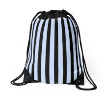 Stripes Black Light Blue Drawstring Bag