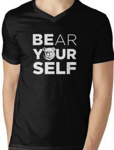 ROBUST Bear yourself white Mens V-Neck T-Shirt