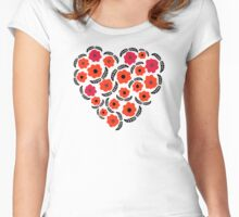 Flowers and Feathers Heart  Women's Fitted Scoop T-Shirt