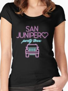 San Junipero Jeep Neon Black Mirror Women's Fitted Scoop T-Shirt