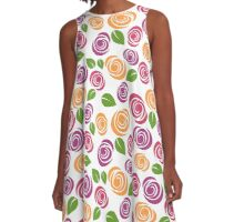 Trendy Purple Pink Green and Orange Floral Pattern A-Line Dress
