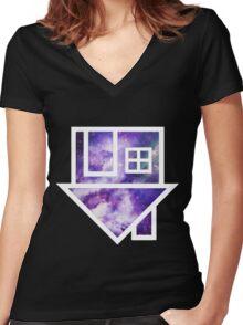 The Neighbourhood Logo (Galaxy Print) Women's Fitted V-Neck T-Shirt