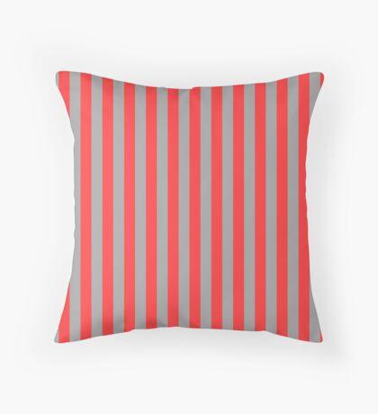 Stripes Red Grey Throw Pillow