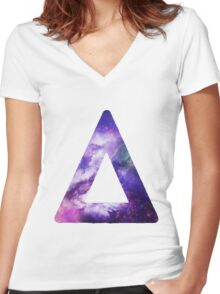 Bastille Triangle Logo (Galaxy Print) Women's Fitted V-Neck T-Shirt