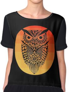 Owl orange gradient oo black bg Chiffon Top