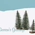 Fir Trees In The Snow Christmas Card by Wolf Kettler