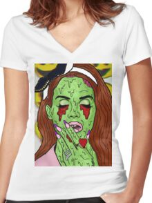 Zombie del rey Women's Fitted V-Neck T-Shirt