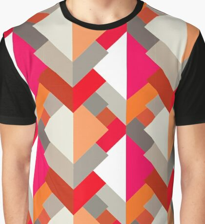Modern Abstract Triangles, Orange, Fuchsia, and Gray Graphic T-Shirt