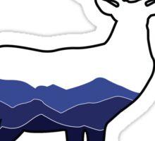 Deer Graphic- White, Mountains Sticker