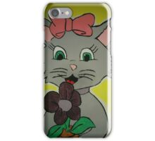 Kitty holding a flower iPhone Case/Skin