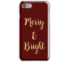Merry and Bright : Holiday Christmas Design Print : Gold on Wine iPhone Case/Skin