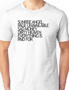Sunrise Angel Lyrics Black Unisex T-Shirt
