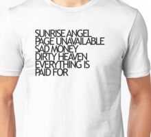 Sunrise Angel Lyrics Black Unisex T-Shirt
