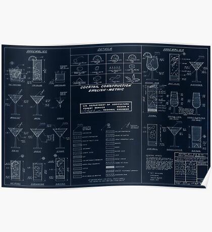 Cocktail Construction Chart - Blueprint Version by United States Forest Service Poster