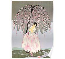 """Art Deco Design by Erte """"Blossom Umbrella"""" Poster"""
