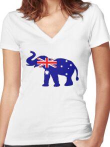 Australian Flag - Elephant Women's Fitted V-Neck T-Shirt