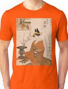 Kitagawa Utamaro - The Courtesan Karakoto Of The Chojiya Seated By An Arrangement Of Plum Flowers. Woman portrait: sensual geisha, female style, pretty women, femine,  eastern, beautiful dress, silk Unisex T-Shirt