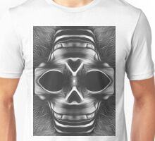 drawing and painting skull in black and white Unisex T-Shirt