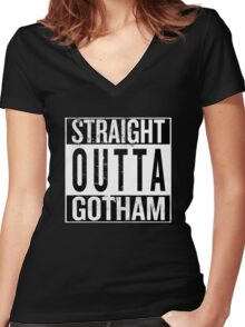 Straight Outta Gotham Women's Fitted V-Neck T-Shirt
