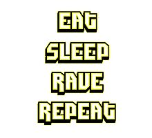 Eat Sleep Rave Repeat - Blindingly Bright Yellow Photographic Print
