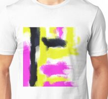pink yellow and black painting abstract with white background Unisex T-Shirt