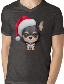 Chihuahua Wearing Santa Hat Mens V-Neck T-Shirt