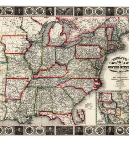 United States - Phelps's National map - 1852 Sticker