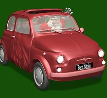 Santa Claus Driving Fiat 500 by Mythos57