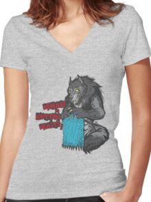 Beware of Knitting Beasts - light fabric Women's Fitted V-Neck T-Shirt