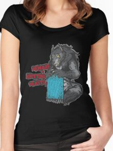 Beware of Knitting Beasts - dark fabric Women's Fitted Scoop T-Shirt